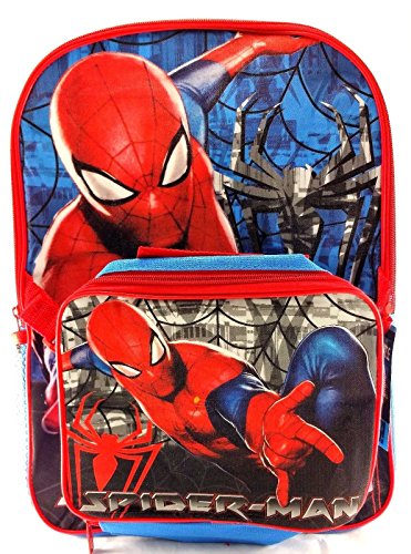 "Marvel Spider-man 16"" Canvas Blue & Red School Backpack w/Detachable Lunch Bag"