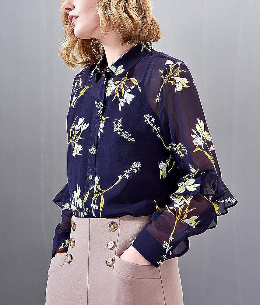 DISSA S6684 Women Silk Blouse Top Shirt Collar Long Sleeve Slim Shirt Silk Shirt Top Blue