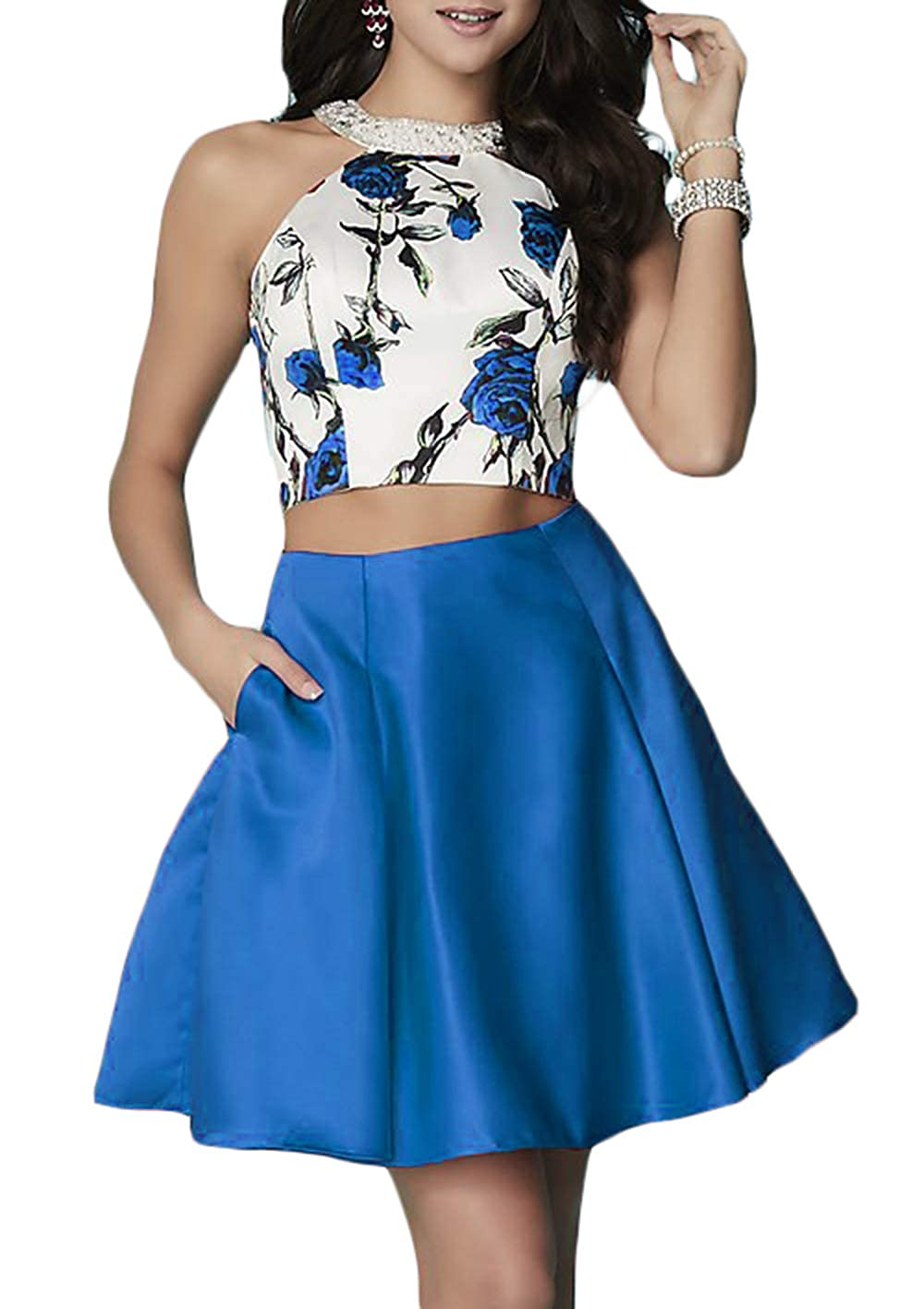 bluee Ri Yun Floral Print Homecoming Dresses Short Two Piece 2018 Halter Beaded Backless Prom Dresses with Pockets