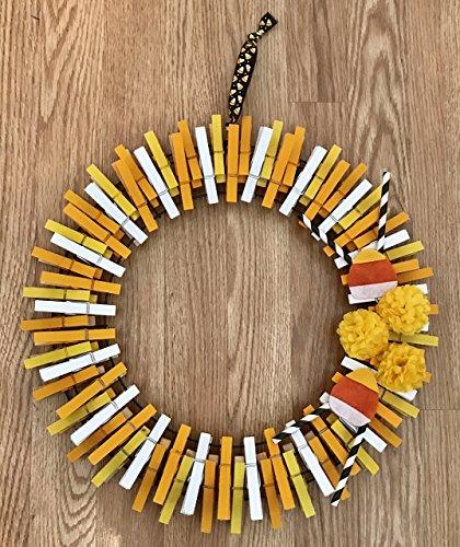 Candy Corn Theme Fall Clothespin Wreath- Halloween -