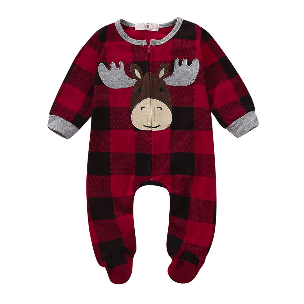 BURFLY Christmas Infant Baby Boy Girl Romper, Toddler Cartoon Xmas Deer Embroidery Tracksuit, Babies Scottish Pattern Jumpsuit Clothes Outfit, 3-24 Months