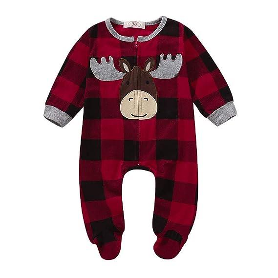 Logobeing Pijama Navidad Bebé Niño Dibujos Animados Bordado Cremallera Mono Mameluco Ropa Pijamas Ropa de Dormir