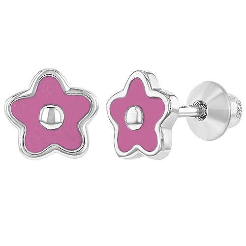 Pendientes de flor, en plata de ley 925, con esmalte rosa y tornillo trasero, para bebés y niñas, 6 mm