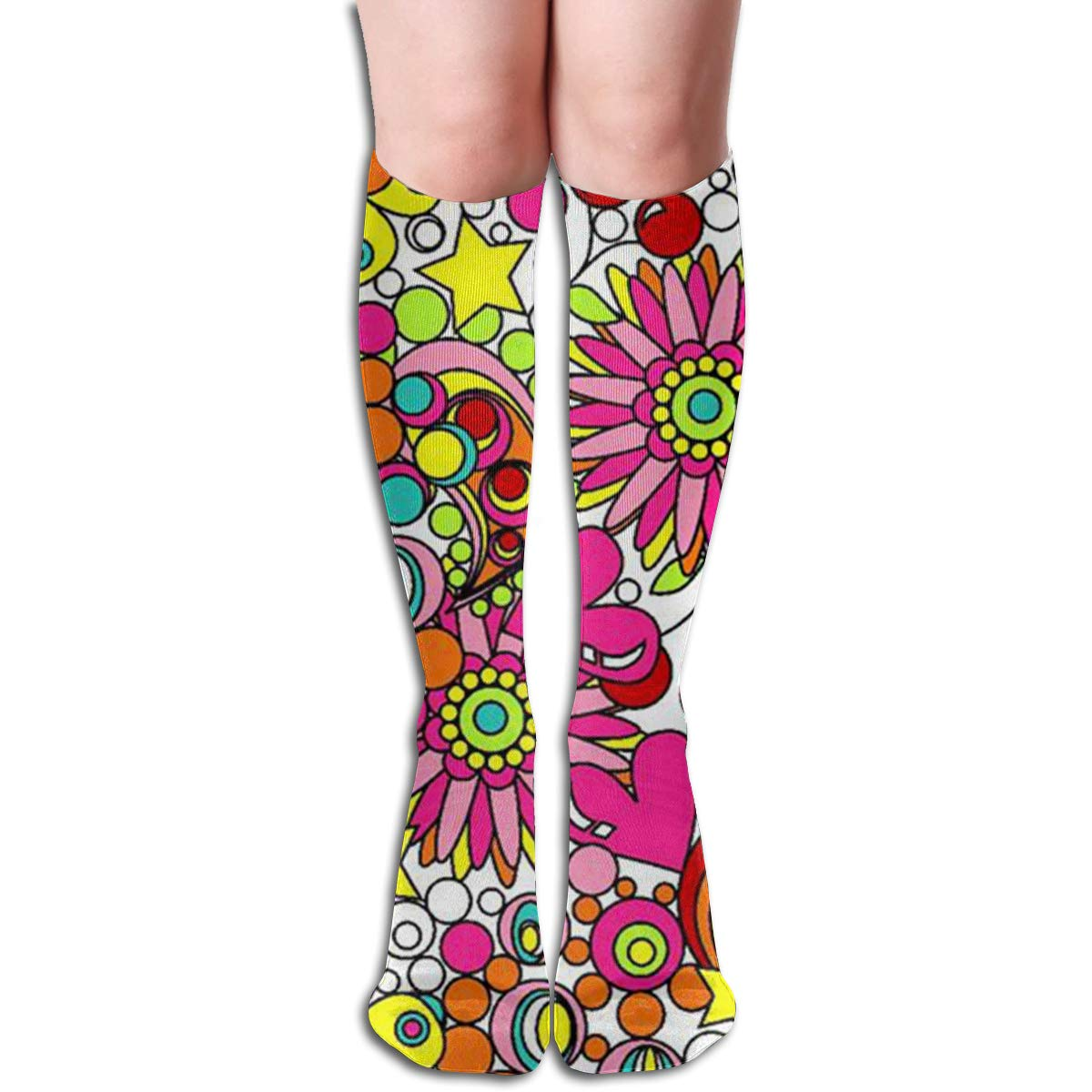 Girls Socks Over Knee Cactus Watercolor Winter Warmth Cool For Christmas
