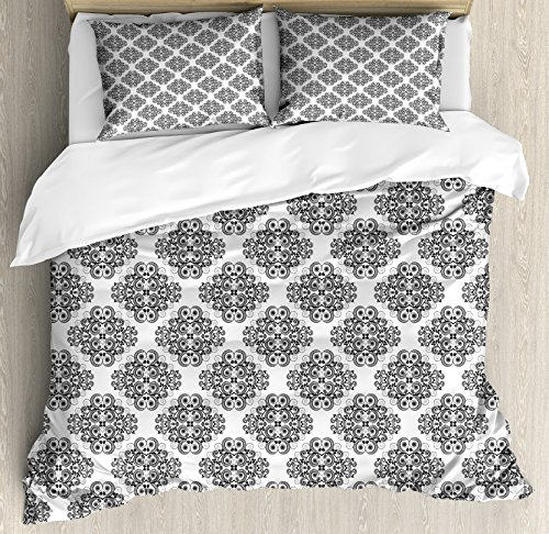 Twig Style Headboard - Lunarable Oriental Queen Size Duvet Cover Set, Black and White Color Curled Up Tree Twigs Hand Drawn Retro Style Pattern, Decorative 3 Piece Bedding Set with 2 Pillow Shams, Black and White
