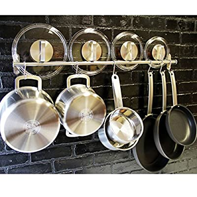 Lyon Stainless Steel Gourmet Kitchen 31.5 Inch Wall Mount Rail and 10 S Hooks Set Utensil Pot Pan Lid Rack Storage Organizer , Silver