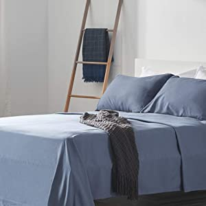 SLEEP ZONE Bed Sheet Sets Temperature Regulation Soft Wrinkle Free Fade Resistant Easy Sheets 4 PC, Flint Blue,King