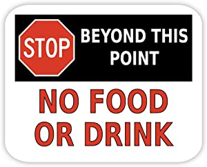 No food or drink beyond this point sign sticker decal 5