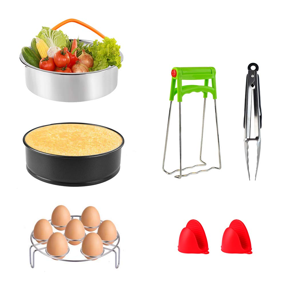 Lee-buty Instant Pot Accessories Set with Steamer Basket, Egg Steamer, Rack Non-stick Springform Pan,Steaming Stand,Silicone Cooking Pot Mitts and Silicone Kitchen Tongs 7Pcs Fits 5,6,8Qt Pressure Coo