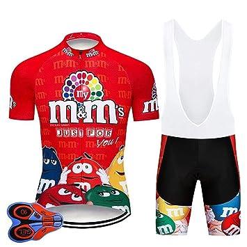 Moxilyn Ropa de Ciclismo para Hombre Traje de Bicicleta Conjunto de Verano Top + Bib Shorts Acolchados, Almohadilla de Asiento de Gel 9D para Montar ...