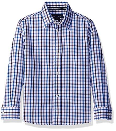 Nautica Little Boys Long Sleeve Multi Color Plaid Shirt, Dark Blue, 6