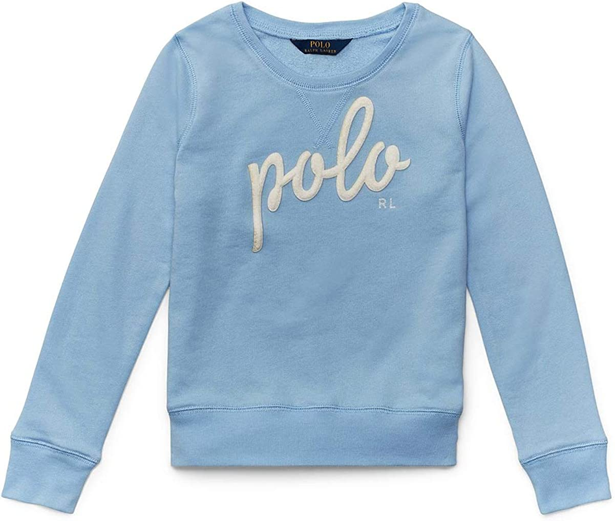 Ralph Lauren Polo Girls French Terry Patch Pullover Sweatshirt 3 3T Blue