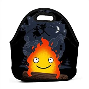 Lunch Bag Portable Tote Bento Pouch Howl'S Moving Castle Calcifer Under The Moon Lunchbox Bag Multifunctional Zipper Package For School Work Office Handbag
