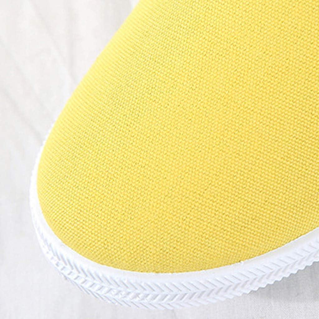 Chaussures De Toile Plates Canvas Confortables Pas Cher Mode Slip-on Baskets Mode Basses Chaussures DéContractéEs Jaune