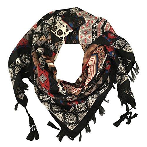DOCILA Cotton Square Scarf, Retro Geometry Pattern Head Wrap (Black) ()