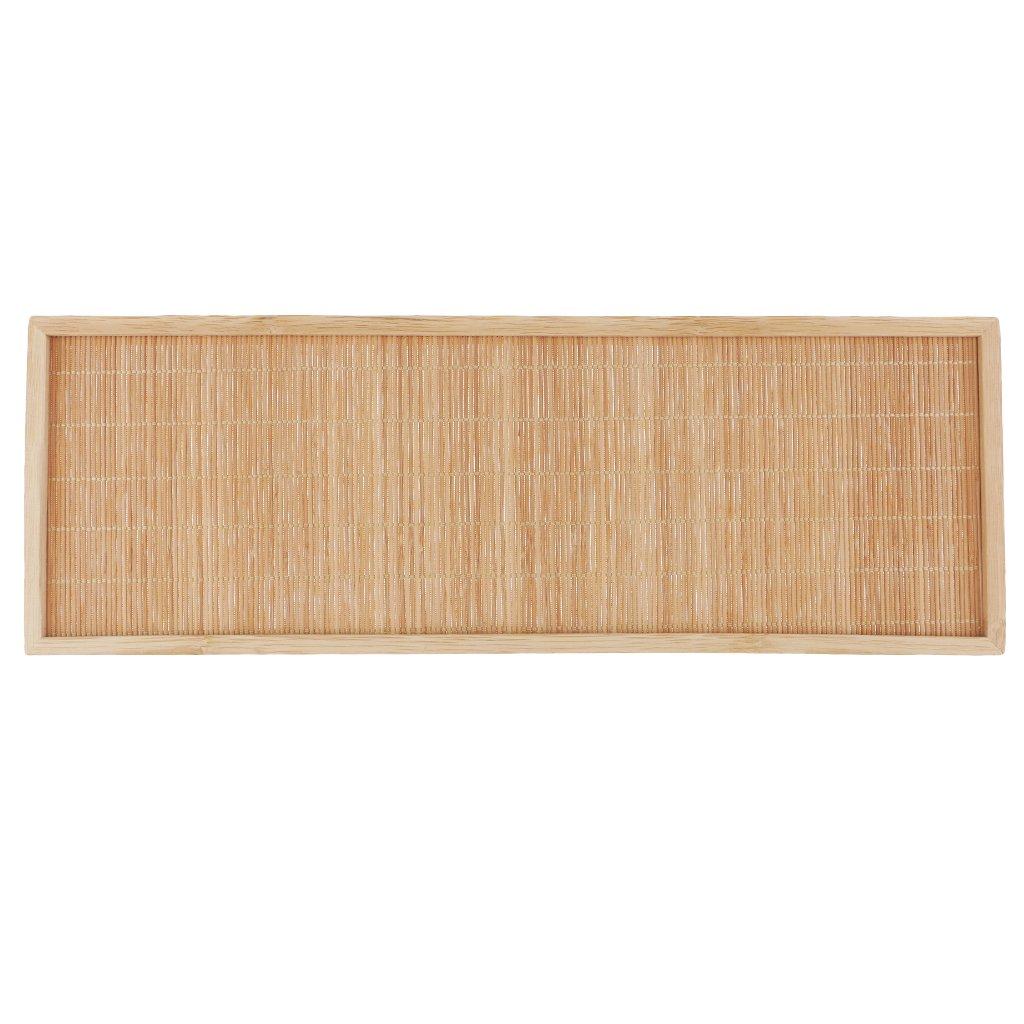 Flameer 1 Piece Bamboo Tea Tray 38 x 13 x 2.5 cm Tea Sets Household Bamboo Tea Kungfu Tea Accessories Beige