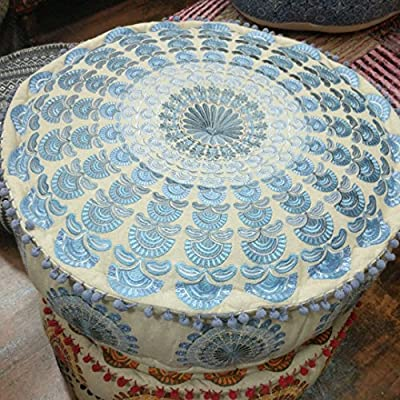 Mandala Life ART Bohemian Floor Cushion –Luxury, Artisan Room Décor Pouf for Meditation, Yoga, and Boho Chic Seating Area Floor Pillow – – Handmade in India