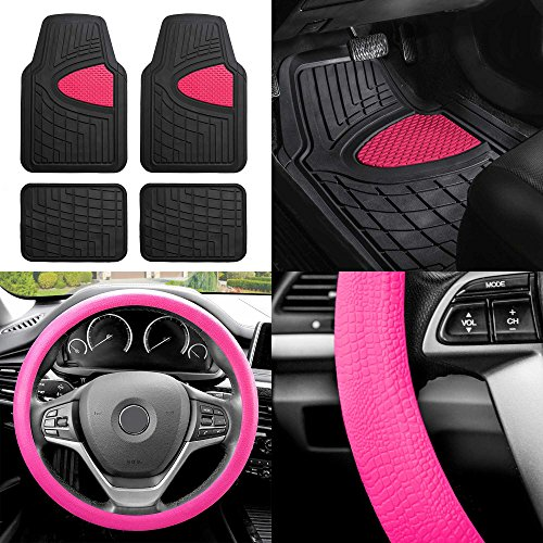 FH GROUP FH-F11311 Premium Tall Channel Rubber Floor Mats w. FH3001 Snake Pattern Silicone steering wheel cover, Pink / Black - 2002 Pink