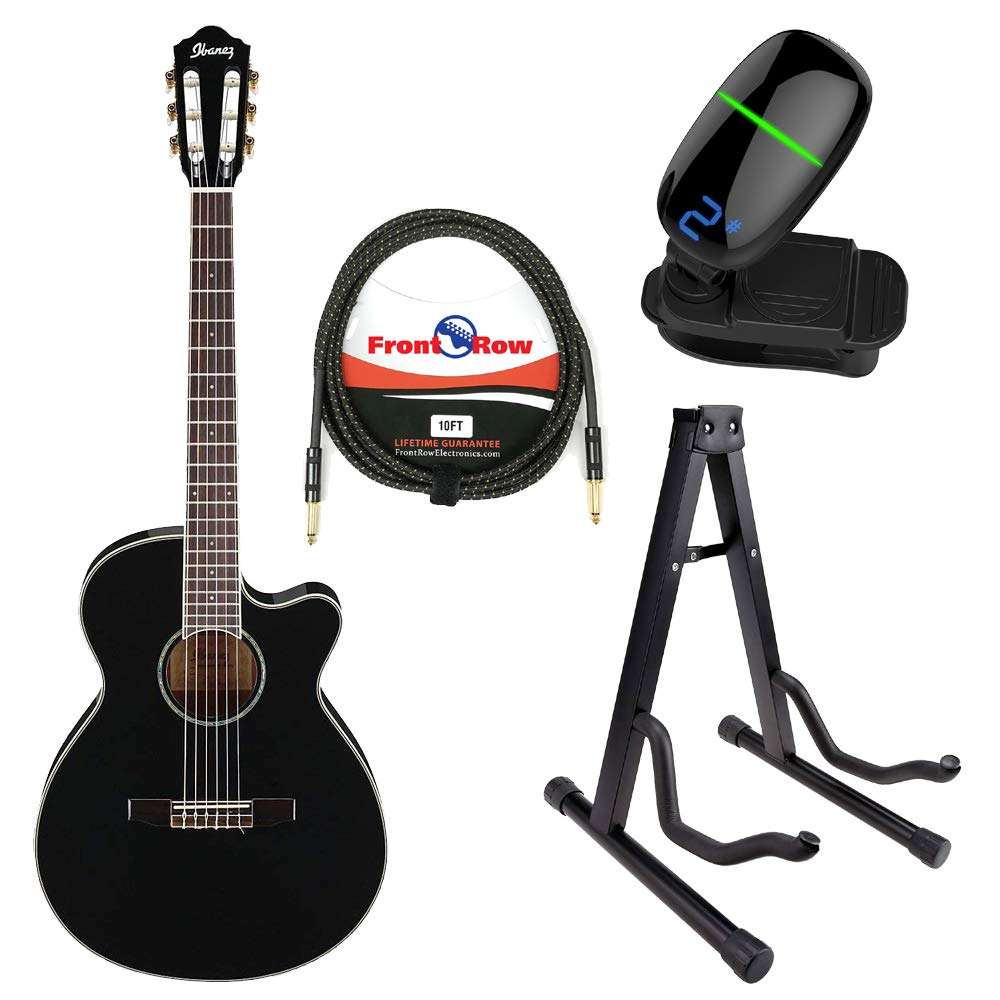 B07HCRDXCG Ibanez AEG10II Acoustic/Electric Guitar with Front Row Cable, Tuner and Guitar Stand (Black, Nylon String) 61dw1GkAhOL