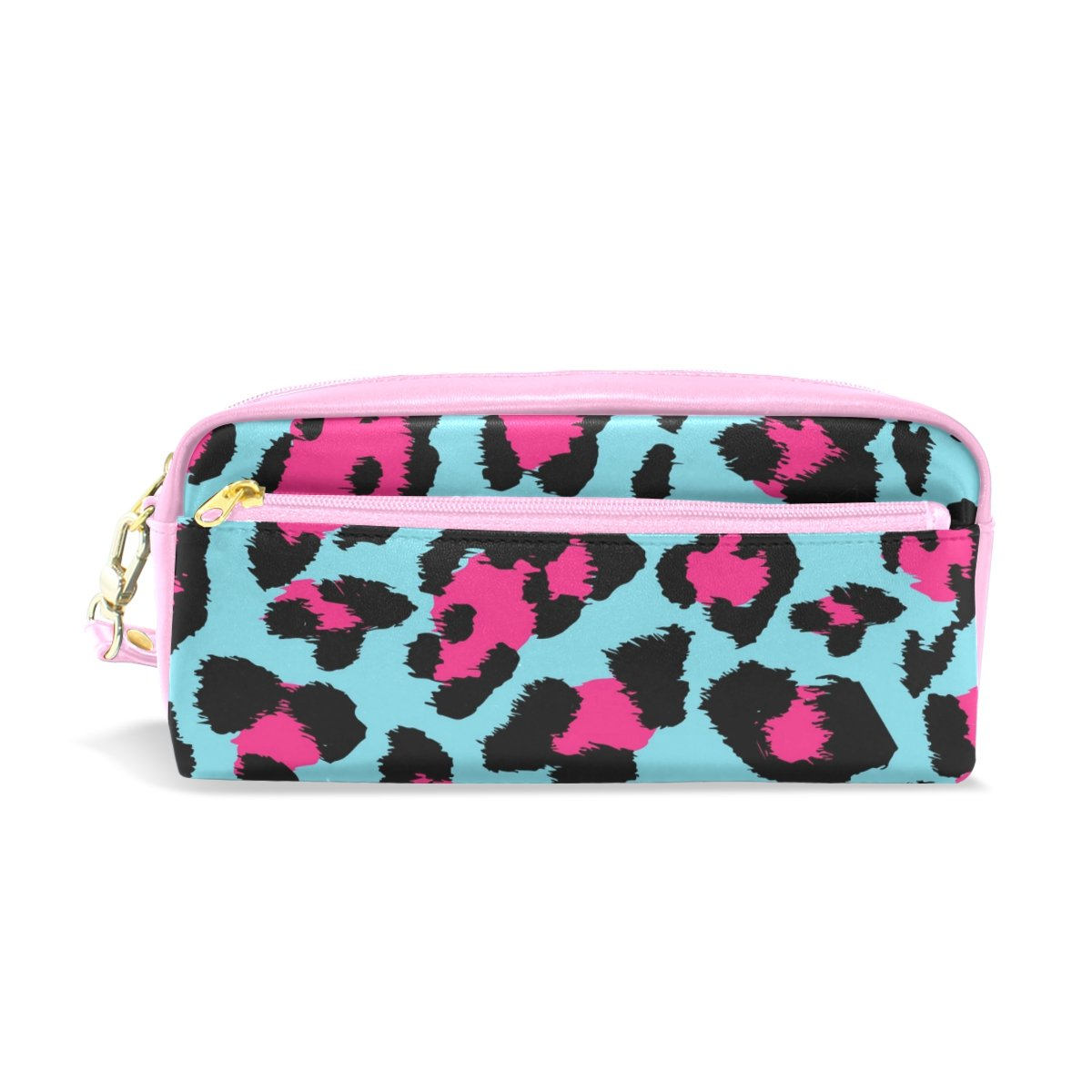 My Little Nest Beautiful Leopard Print Cosmetic Makeup Bag Pencil Case Multi Function School Office Organizer Bag with Zipper Closure