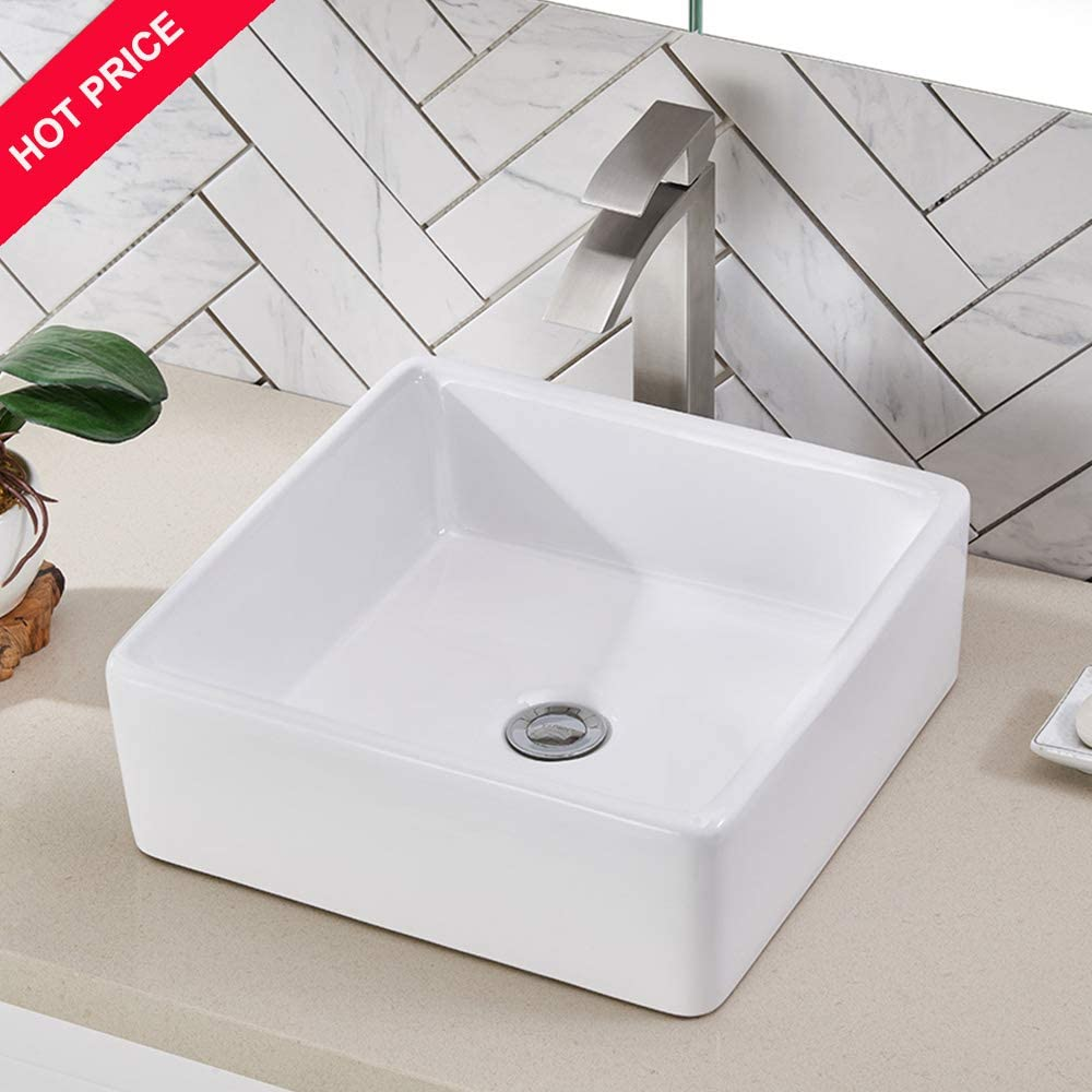Friho 14.96 x14.96 Modern Above Counter Square Vessel Vanity Sink White Porcelain Ceramic Lavatory Bathroom Vessel Sink