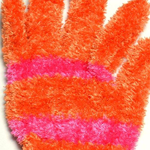 ふわふわ ボーダー手袋 フリース オレンジ