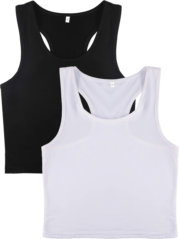 Women Crop Tank Top Cotton Basic Sleeveless Racerback Short Sports Crop Top for Ladies Girls Daily Wearing