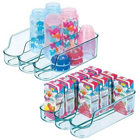 mDesign Juego de 2 cajas de plástico para guardar comida para bebés – Organizador de biberones pequeño con 3 compartimentos – Caja organizadora ...