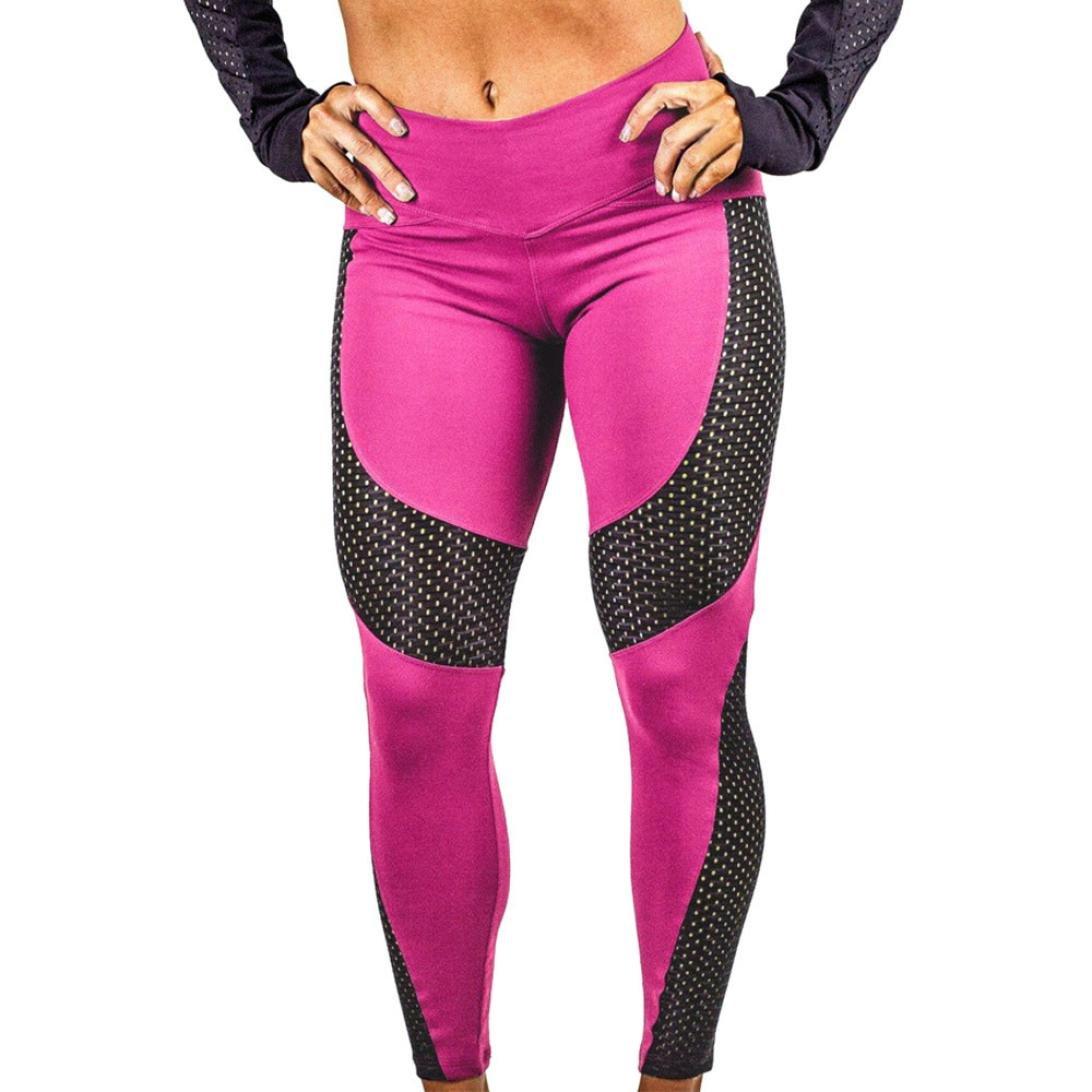 G-real Women Vintage Yoga Pants Sport Pants Workout Leggings Stretch Dot Trousers (Hot Pink, S)