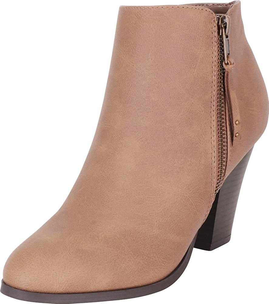 Stone Nbpu Cambridge Select Women's Western Chunky Stacked High Heel Ankle Bootie