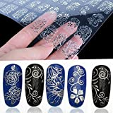 #10: Warm Girl 108Pcs 3D Silver Flower Nail Art Stickers Decals Stamping DIY Decoration Tools