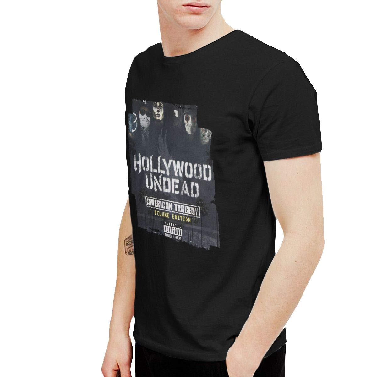 KaceO Mens Hollywood Undead American Tragedy T-Shirt Black