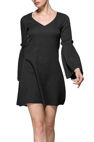 Vestidos Verano Mujer Cortos Casual Elegantes V Cuello Manga Larga Vestir Informales Primavera Otoño Trompeta Manga Casual Color Sólido Vestido Mini ...