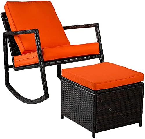 Merax WF036008GAA Patio Wicker Rocking Armed Outdoor Garden Lounge Ottoman Cushion Orange Rattan Rocker Chair
