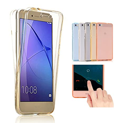 Huawei G8 / GX8 Funda, 2ndSpring 360 Grados Doble Delantera + Trasera De Gel Integral Silicona TPU Carcasa Case Cover para Huawei G8 / GX8,Oro
