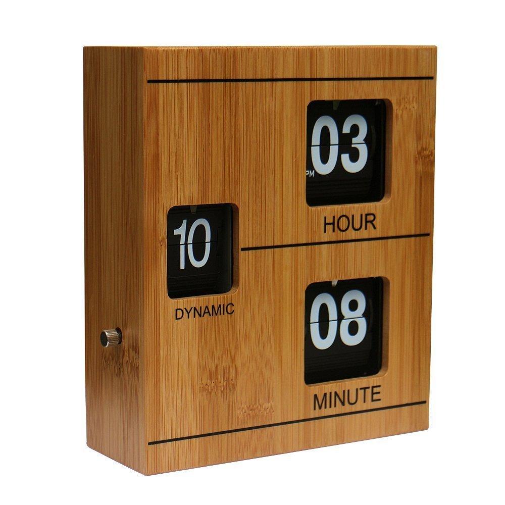 WoneNice Bamboo Retro Flip Down Clock - Internal Gear Operated Clock for Office, Bedroom, Kitchen, Hotel, Table, Desk