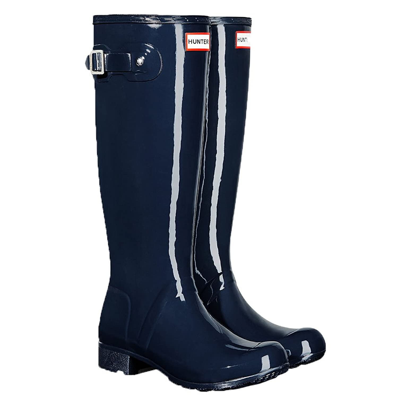 Amazon.com | Hunter Women s Original Tour Gloss Rain Boots Navy 8 | Knee-High