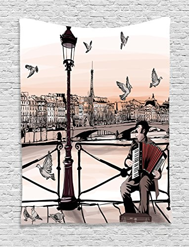 Street Scene Decor (Ambesonne Music Decor Tapestry by, Accordionist Playing Paris Street Urban European Famous Town City Panorama Graphic Scene, Bedroom Living Room Dorm Decor, 40 W x 60 L inches, Peach Brown)