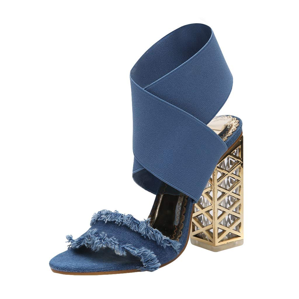 ℱLOVESOOℱ New Summer Women's Denim Heeled Sandals Fashion Open Toe Tassel Ankle Strap Fish Mouth Party Pumps High Heels