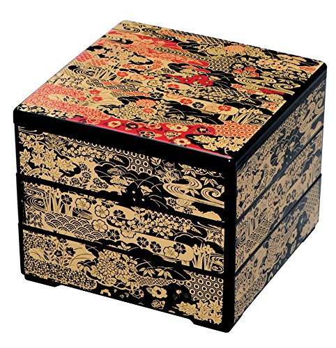 (Yu-zen Jubako-box : Black/red (3-tiered))