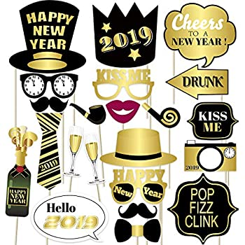 Amazon.com: Happy New Year 2019 Photo Booth Props - New ...