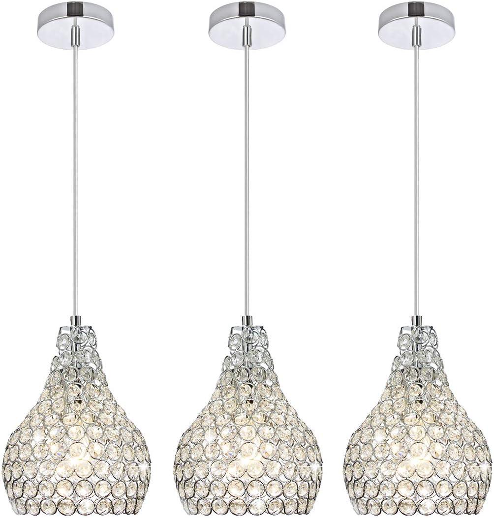 Popilion 3 Pack Ornate Chrome Crystal Ceiling Pendant Light