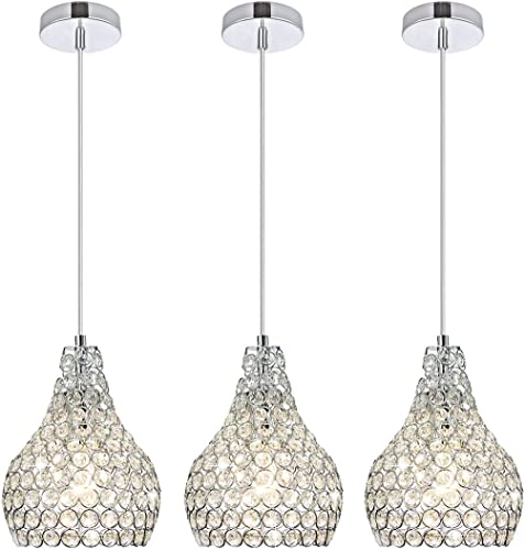 Popilion 3 Pack Ornate Chrome Crystal Ceiling Pendant Light