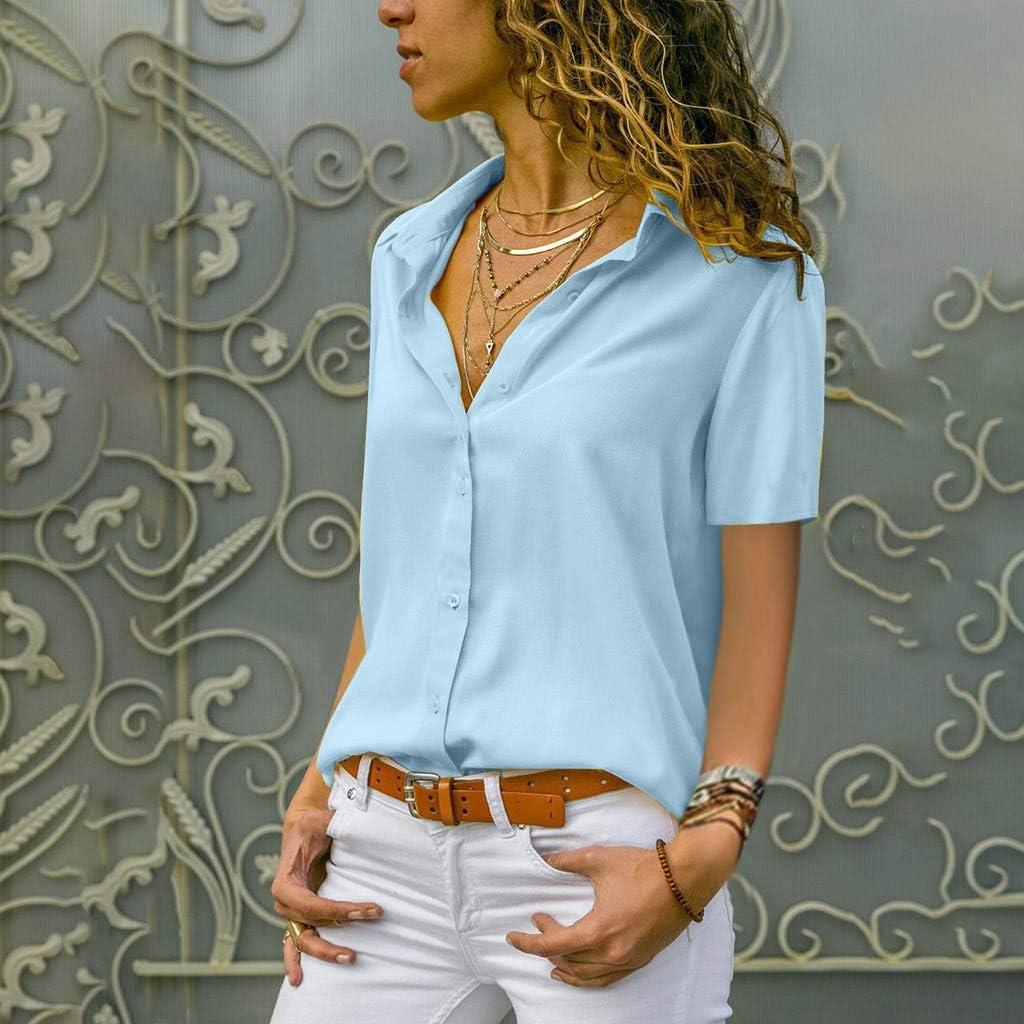 und Weisefrauen B/üro-Damen-Plain-Kurzarmblusen-Spitze Oksea Langarm Chiffon Chiffon festes T-Shirt der Art