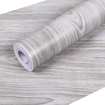 """Wall Paper Contact Paper Gray Wood 17.7""""x 118"""" PVC Stick Self Adhesive"""