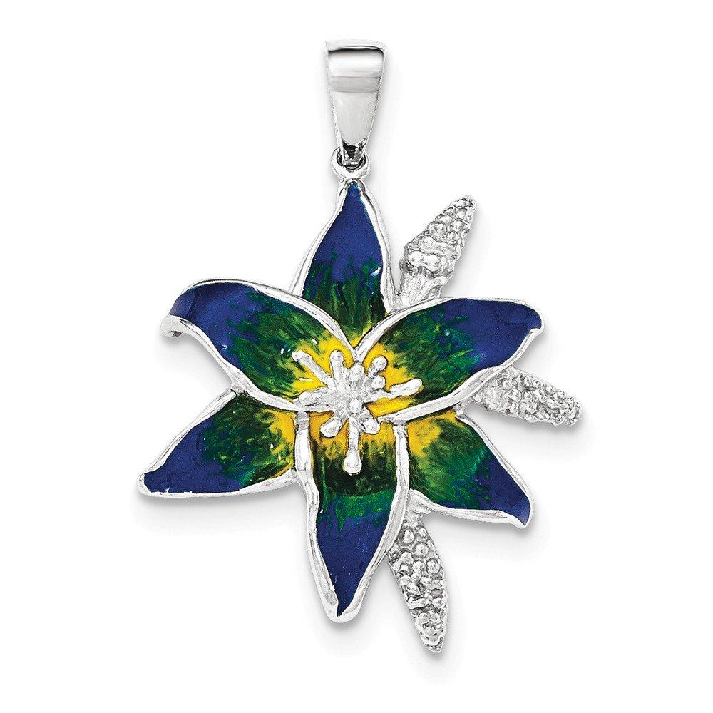 Sterling Silver Jewelry Pendants /& Charms Blue Enameled Blue Flower Pendant