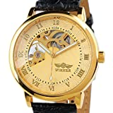 ESS Gent Men's Golden Case Skeleton Dial Hand-Wind Up Leather Mechanical Watch WM208