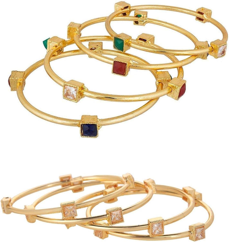 Efulgenz Fashion Jewelry Indian Bollywood 14 K Gold Plated Faux Kundan Crystal Bracelets Bangle Set (4 Piece)