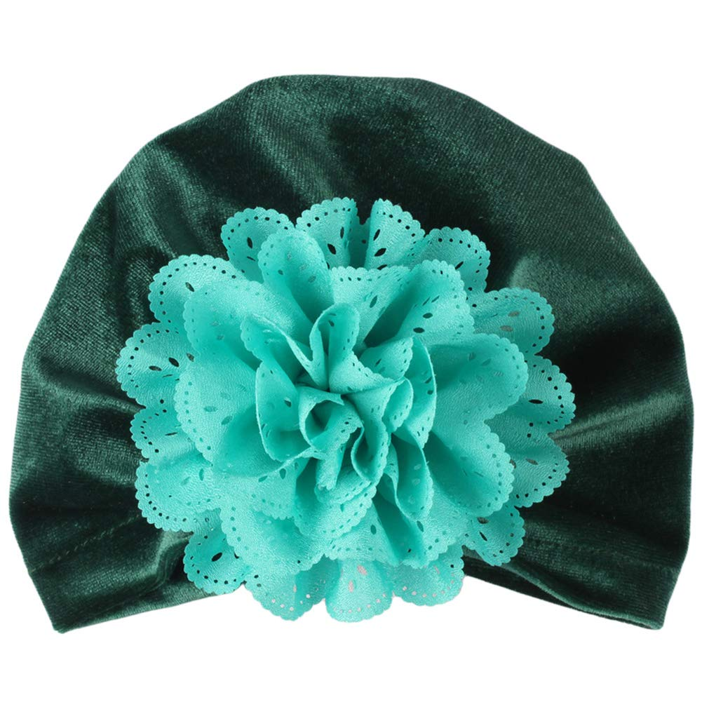 Shineweb Toddler Baby Girl Hollow Floral Soft Beanie Hat Elastic Turban Cap Navy Blue