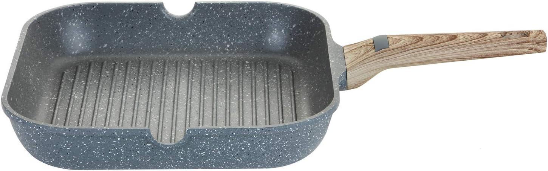 Rev/êtement Anti-adh/érent ROSSETTO Grill de 28cm/×28cm Tous Feux Dont Induction Couleur Silver Grey